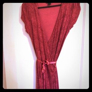 Express pink snakeskin print wrap dress.